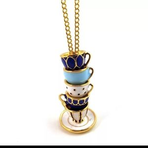 Stack of Tea Cup Necklace